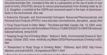 Pharmaceuticals in Drinking Water Supplies