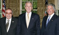 Mitch Lipshultz with President George Bush and son Alfred Lipshultz in the Oval Office, 2008