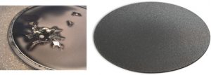 Figure 1 Left: Failure mode of a 50-µm thin-film diamond electrode manufactured as part of a research program into thin-film electrodes. Right: At ~0.7 mm thickness, freestanding diamond electrodes ~130 mm in diameter are robust and have been deployed in the field for many years.