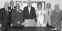 1973 members of BOD, left to right: J.A. Meredith; A.L. Schlock, Jr.; C.A. Maas; J.G. Baker; Deri Knapp; F.X. Sandner, Jr. and A.T. Lenz.